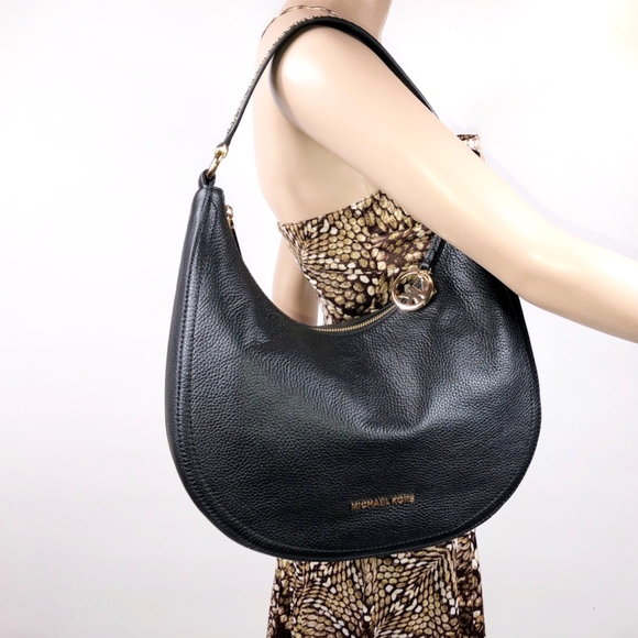 74fb2579d061 Michael Kors Bags | Lydia Black Leather Shoulder Bag | Poshmark